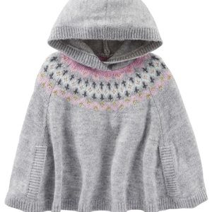 Beautiful girls Oshkosh knit cape/poncho with hood